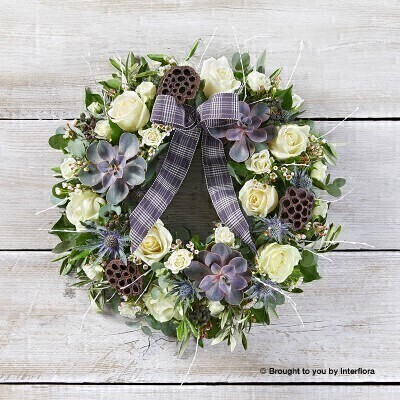 Blizzard Beauty Door Wreath: Booker Flowers and Gifts