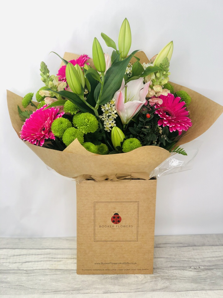 Bright Lily and Gerbera Handtied Bouquet: Booker Flowers and Gifts
