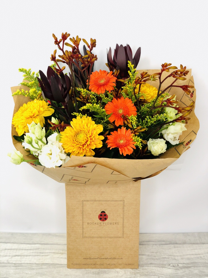 Burning Sunset Orange Bloom and Germini Bouquet: Booker Flowers and Gifts