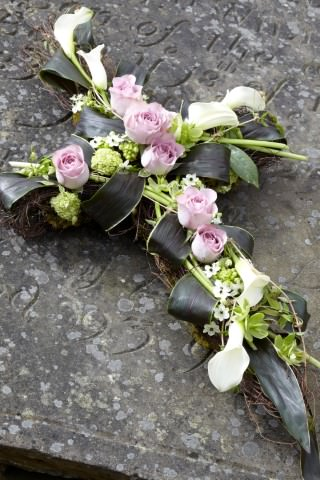 Calla Lily and Rose Funeral Cross: Booker Flowers and Gifts