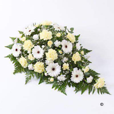 Large Classic Teardrop Spray in Yellow and White | Funeral Flowers