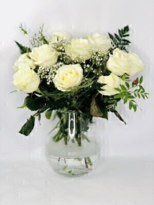 White Rose Bouquet - Flowers in Glass Vase
