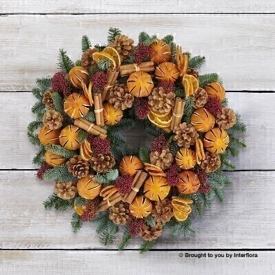 Chic Clementine Door Wreath: Booker Flowers and Gifts