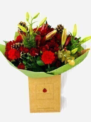 Christmas Cracker Handtied Bouquet Large: Booker Flowers and Gifts