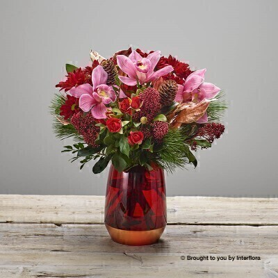 Christmas Red Rose and Orchid Vase: Booker Flowers and Gifts