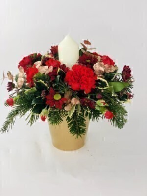 Christmas Table Centrepiece with Candle: Booker Flowers and Gifts
