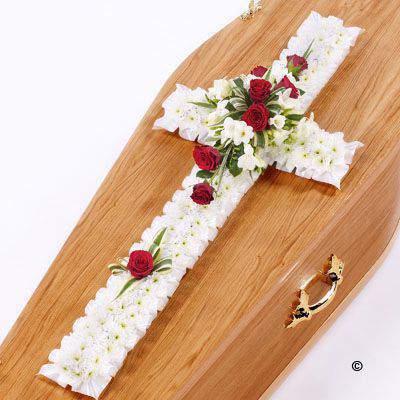 Classic Cross - White and Red Large: Booker Flowers and Gifts