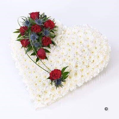 Classic White Heart with Red Roses: Booker Flowers and Gifts