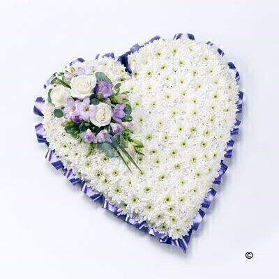 Classic White Heart with White Roses: Booker Flowers and Gifts
