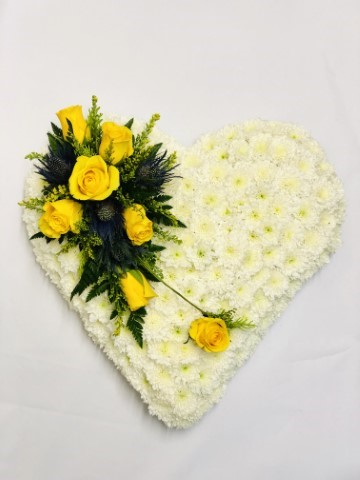 Classic White Heart with Yellow Roses: Booker Flowers and Gifts