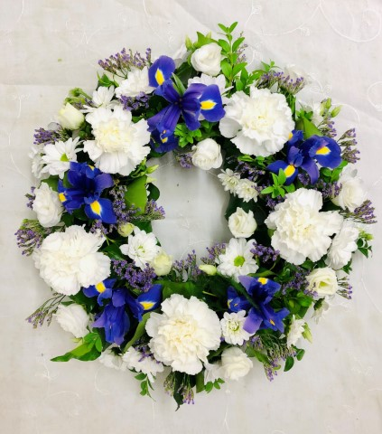 Classic Wreath - Blue and White Large: Booker Flowers and Gifts