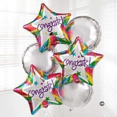 Congratulate someone with a surprise delivery of six helium-filled balloons.Our Congratulations Balloon Bouquet includes three round silver balloons and three star-shaped 'Congrats' balloons - a gift theyandrsquo;re sure to love!