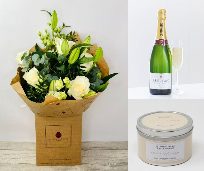 Congratulations Flowers And Champagne Gift Set: Booker Flowers and Gifts