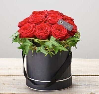 Crimson Rose Hatbox: Booker Flowers and Gifts