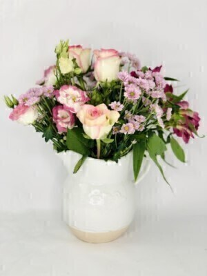 Dolly Mixture Flowers in Chantilly Jug: Booker Flowers and Gifts