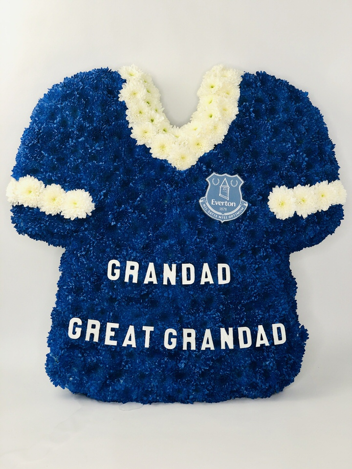 Everton Football Shirt Funeral Tribute: Booker Flowers and Gifts