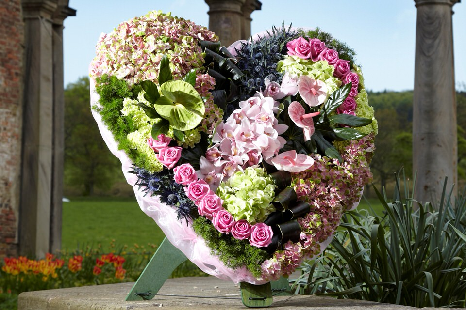 Extra Large Heart Pink and Green: Booker Flowers and Gifts