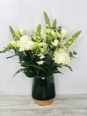 Fragrant Whites Vase Large: Booker Flowers and Gifts