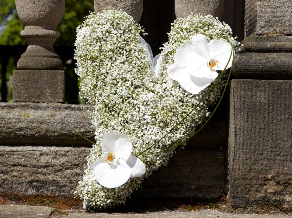 Funeral Heart Gypsophila and Orchid: Booker Flowers and Gifts