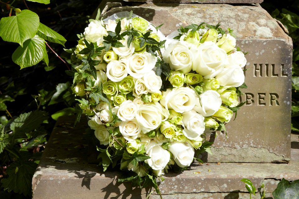 Funeral Heart Luxury Roses in White and Green: Booker Flowers and Gifts