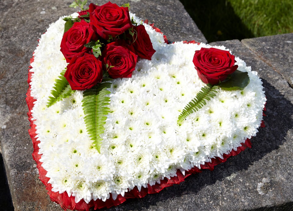 Funeral Heart Red and White: Booker Flowers and Gifts