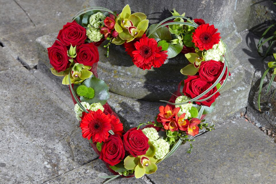 Funeral Open Heart Red and Green: Booker Flowers and Gifts