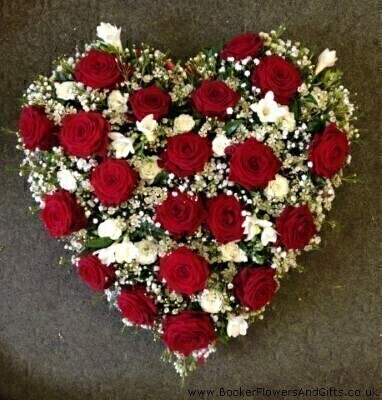 Heart In Red And White Funeral Flowers: Booker Flowers and Gifts