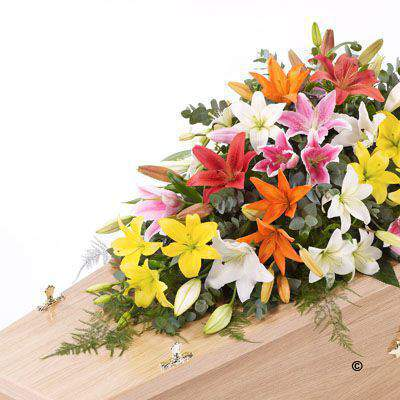Lily Casket Spray - Mixed Colours Large: Booker Flowers and Gifts