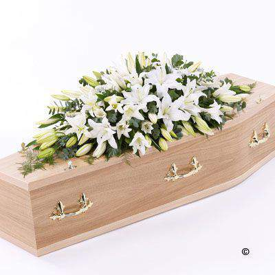Lily Casket Spray - White Large: Booker Flowers and Gifts