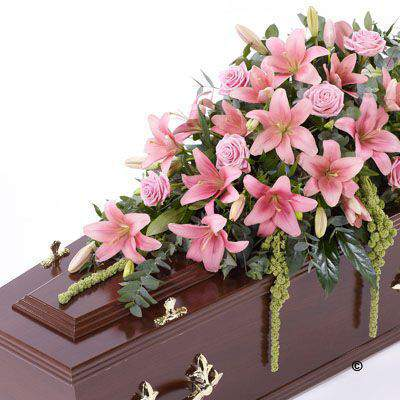 Lily and Rose Casket Spray - Pink Large: Booker Flowers and Gifts
