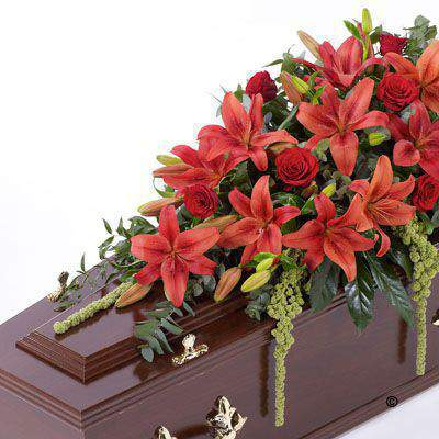 Lily and Rose Casket Spray - Red Large: Booker Flowers and Gifts