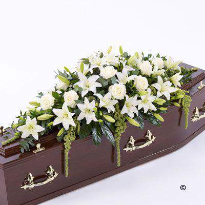 Lily and Rose Casket Spray - White: Booker Flowers and Gifts