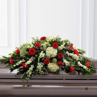 Mixed Casket Spray - Red and Green: Booker Flowers and Gifts