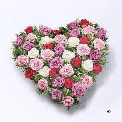 Mixed Rose Heart - Pink Red and White: Booker Flowers and Gifts