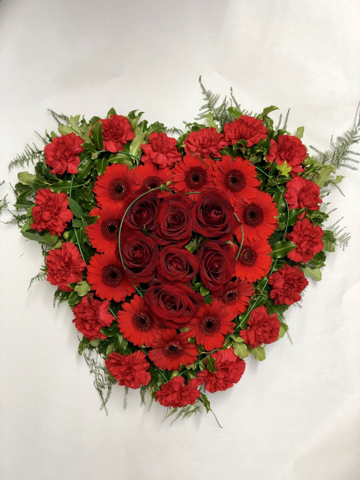 Modern Red Rose Heart: Booker Flowers and Gifts