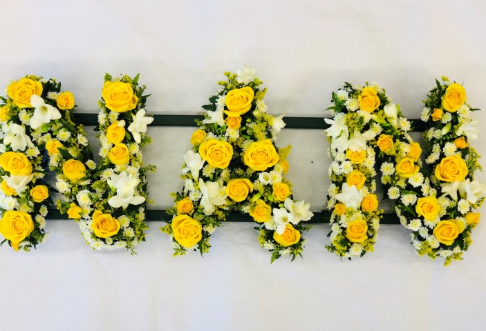NAN Funeral Flowers in Yellow and White: Booker Flowers and Gifts