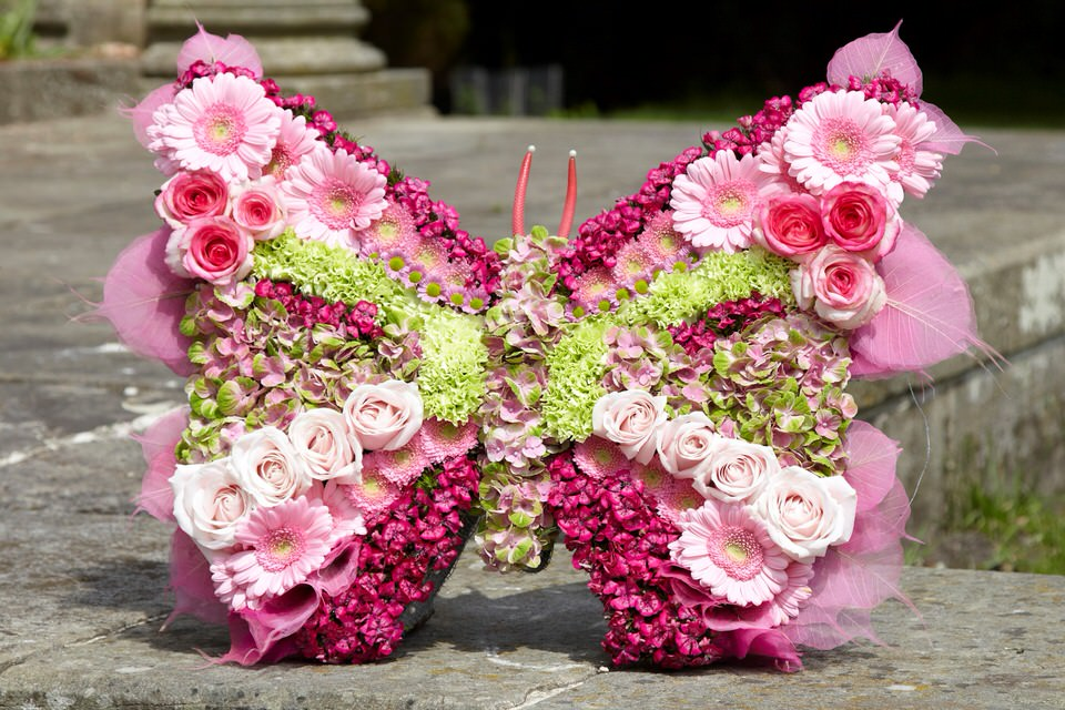 Pink Butterfly Tribute: Booker Flowers and Gifts