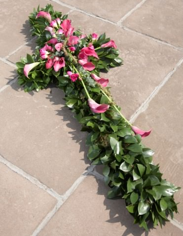 Pink Calla Lily Funeral Cross: Booker Flowers and Gifts