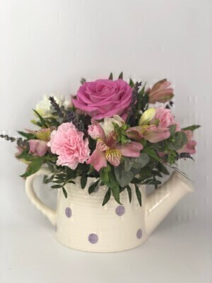 Pink Flourish Watering Can: Booker Flowers and Gifts
