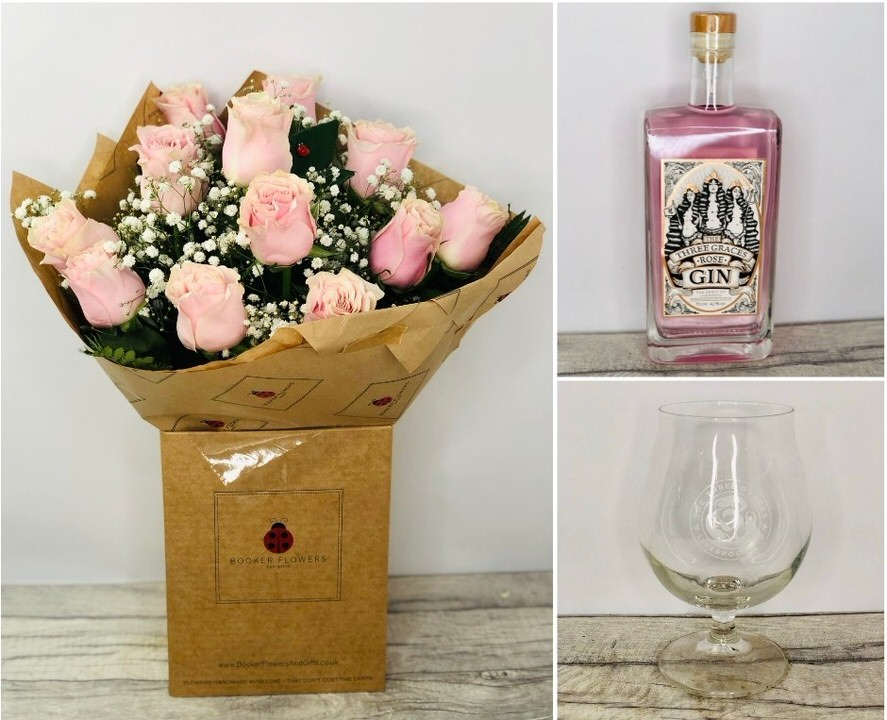 Pink Rose Bouquet and Three Graces Pink Gin and Glass: Booker Flowers and Gifts