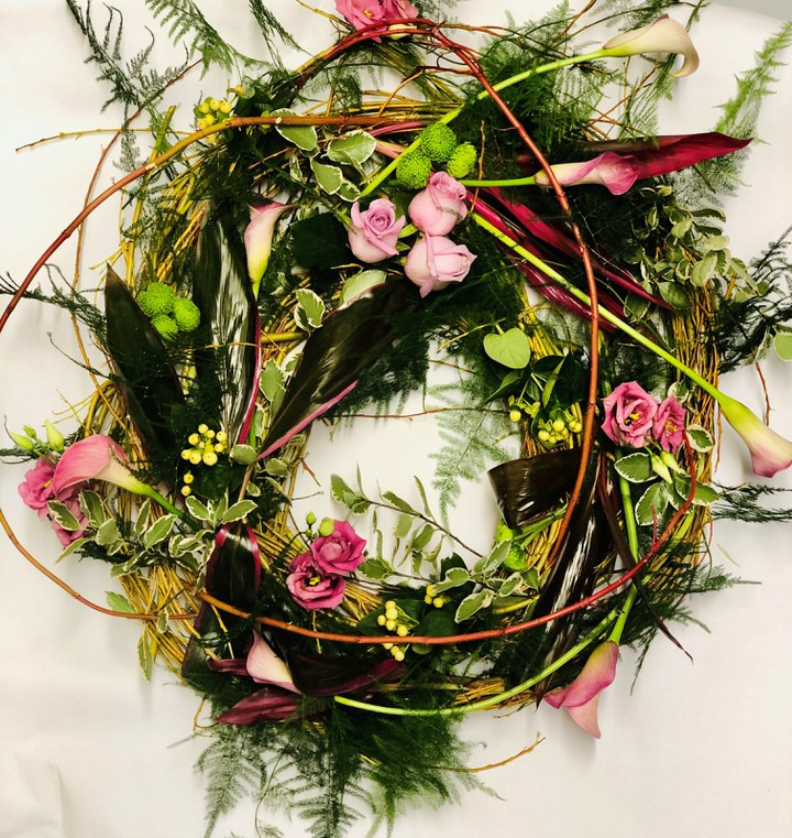 Pink Woodland Wreath: Booker Flowers and Gifts