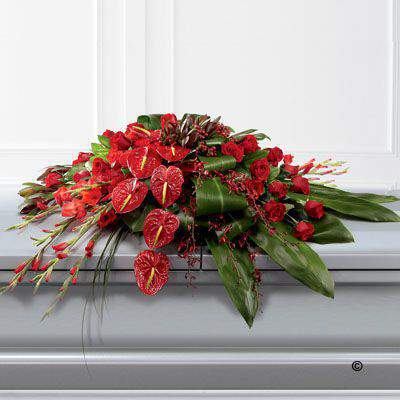 Rose Orchid and Anthurium Casket Spray: Booker Flowers and Gifts