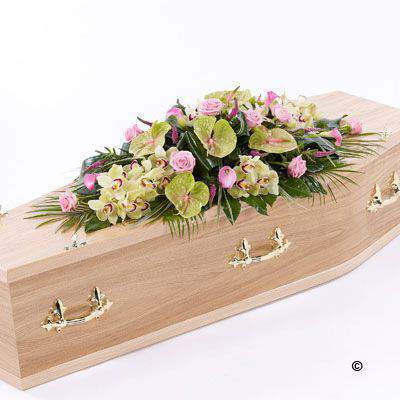 Rose Orchid and Calla Lily Casket Spray Large: Booker Flowers and Gifts