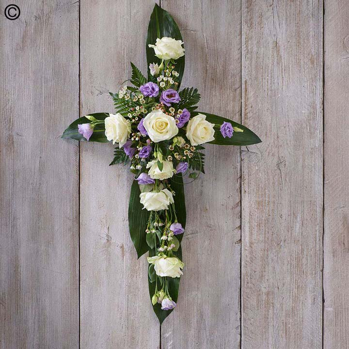 Rose and Aspidistra Cross: Booker Flowers and Gifts