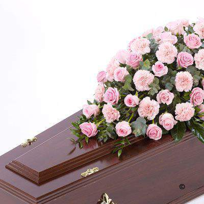 Rose and Carnation Casket Spray - Pink Large: Booker Flowers and Gifts