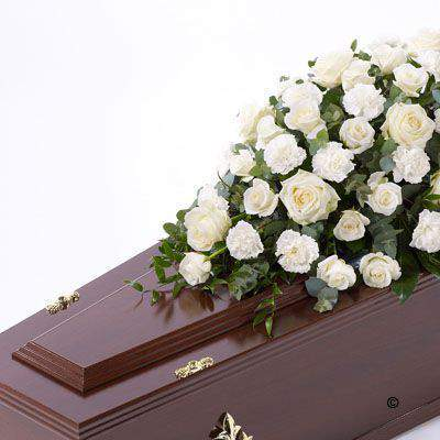 Rose and Carnation Casket Spray - White Extra Large: Booker Flowers and Gifts
