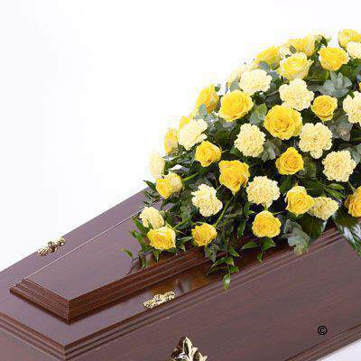 Rose and Carnation Casket Spray - Yellow Extra Large: Booker Flowers and Gifts