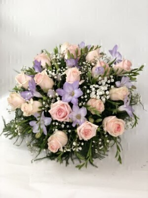 Rose and Freesia Posy - Pink and Lilac: Booker Flowers and Gifts