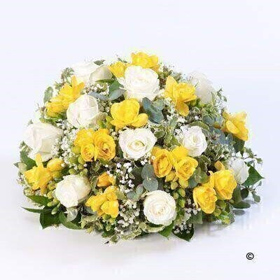 Rose and Freesia Posy - Yellow and White: Booker Flowers and Gifts