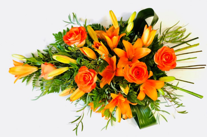 Rose and Lily Spray - Orange: Booker Flowers and Gifts